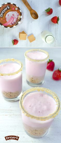 Strawberry Shortcake Shake: Your kids will love this this refreshing spin on a classic dessert. Mix together Dreyer's strawberry ice cream, shortbread cookies and milk. Then pour into glasses with cookie-coated rims and garnish with fresh strawberries for a simple frozen snack that blends a ton of flavor into every bite!