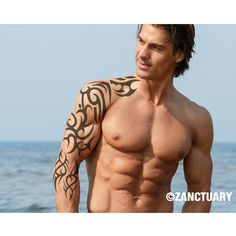 Large Temporary Tattoo Sleeve-Tribal Tattoo Sleeve-Tribal Tattoo Cover Up-Men Guy Male-Arm Forearm Shoulder Leg-Gym Beach Party-ZANCTUARY