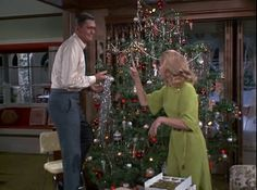 Bewitched ~ Remember this scene?  One strand of tinsel at a time . . .