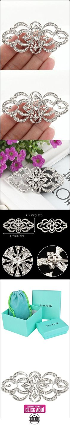 EVER FAITH® - Art Deco Brial Broche Claro Cristal Austriaco Plata-Tono N04247-1  ✿ Joyas para mujer - Las mejores ofertas ✿ ▬► Ver oferta: http://comprar.io/goto/B00OMOQYHS