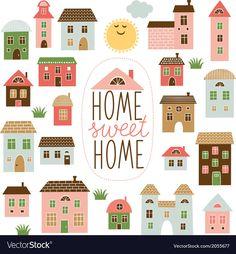 Home Sweet Home Illustration Stock Vector (Royalty Free) 181052390 Building Illustration, House Illustration, Illustrations, Owl Vector, Vector Art, Sweet Home, Haus Vektor, House Doodle, Cartoon House