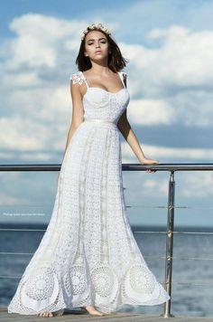 Crochet Wedding Dresses, Wedding Dresses 2018, Bohemian Wedding Dresses, Bridal Dresses, Mode Crochet, Ivory Dresses, Crochet Fashion, Beautiful Crochet, Beautiful Gowns