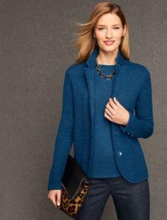 Merino Wool Basket-Weave Sweater Jacket - Talbots; Color: Dark Peacock Heather; September 27, 2016