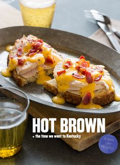 A delicious open faced turkey sandwich smothered in a Mornay sauce and topped with crispy bacon.