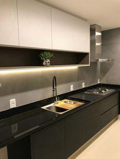 E Design, New Homes, Sweet Home, Kitchen Cabinets, Ds, Home Decor, Black Kitchen Island, Kitchen White, New Kitchen