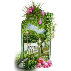 """Garden Path in a Mason Jar"" by lois-boyce-flack on Polyvore featuring art"