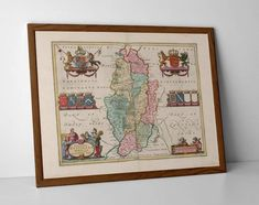 Nottinghamshire Old Map, originally created by Willem Janszoon Blaeu, now available as a 'museum quality' wall hanging print.  #Arnold #Beeston #Carlton #Clifton #homedecor #travelposter #interiordesign #hahnemuhle #historicnottingham #Hucknall #Mansfield #oldmap #Nottingham #Nottinghamshiremap #nottingham #nots #vintagenottingham #Worksop