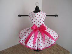 Dog Dress XS White with Hot Pink Polkadots by NinasCoutureCloset