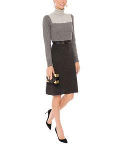Grey Color Block Sweater Dress with Belt | Paule Ka | Halsbrook