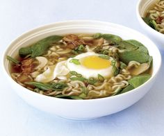 Bacon and Egg Ramen by Fine Cooking. A few fresh ingredients—ginger, scallion, spinach, bacon, and a cracked egg—transform those little packages of noodles into something truly satisfying.