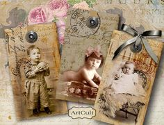 BABIES - Ephemera Gift Tags - Digital Collage Sheet - Printable Images - Vintage Paper Craft - Scrapbooking Supply