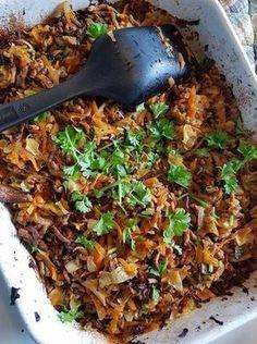 Hakket oksekød med gulerødder og spidskål