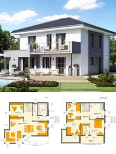 Modern single-family house with hipped roof Architecture & Plaster Facade gray white with bay window - City villa build Ideas Floor plan prefab house Sunshine 143 by Living Haus - HausbauDirekt House With Balcony, House Roof, Facade House, Town House, Roof Architecture, Modern Architecture House, Living Haus, Living Room, Small Villa