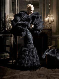 Karl Lagerfeld Fashion Shoot for Harper's Bazaar. Alexander McQueen cape, gown and belt. Chanel fine jewelery