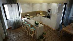 13 Ιδιοφυείς λύσεις για μικρές κουζίνες! Sweet Home, New Homes, Kitchen, Table, Furniture, Home Decor, Places, Flats, Cooking