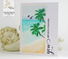 Inspired by Stamping, Joanna Munster, Tropical Paradise stamp set, Spring Bouquet stamp set, tropical card, thinking of you card, thank you card
