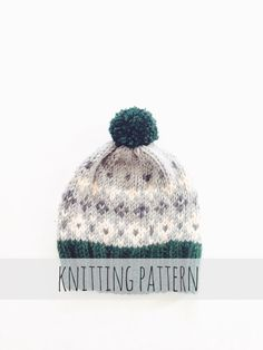 Tahoe Toboggan by Two of Wands // Knitting Pattern for Pompom Winter Ski Fair Isle Patterned Alpine Beanie Cap Hat
