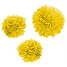 Pompom em Papel Seda para Decoração Amarelo - 05 unidades
