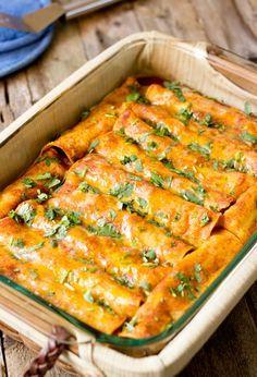 Black Bean Vegan Enchiladas. Looks delish! Minus the vegan cheese blechh