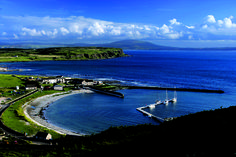 Rathlin Harbour, Rathlin Island, off the County Antrim Coast, facing Ballycastle, Northern Ireland.