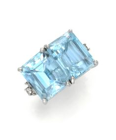 An Aquamarine and Diamond Twin-stone Ring, by Cartier, circa 1950. Available at FD Gallery. www.fd-inspired.com