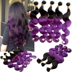 Body Wave 50g 1b/Purple# Ombre Brazilian Virgin Unprocessed Human Hair Extension #WIGISS #HairExtension