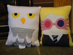 Wizard pillow, Hermione Granger, Ron Weasley,Luna Lovegood, Draco Malfoy, plush, Decorative Pillow. $30.00, via Etsy.