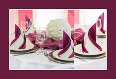 Beautiful elegant table set for wedding or event party in dark red and white with flowers, indoors Elegant Table Settings, Wedding Table Settings, Event Planner Salary, Black Napkins, Paper Table, Party Napkins, Napkin Folding, Decoration Table, Event Planning
