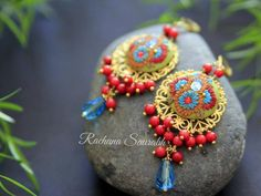 Handmade Crafts, Handmade Jewelry, Monthly Challenge, Touch Of Gold, Red Glass, Polymer Clay Earrings, Bead Art, Indian Jewelry, Statement Earrings