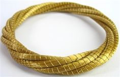 Golden Grass Vine Bangle - Handmade in Brazil - An Eco Fashion jewelry item