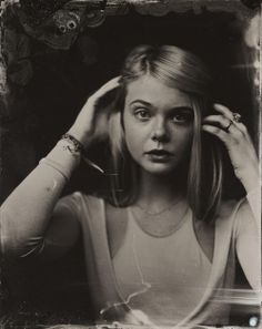 Elle Fanning in a tintype portrait taken by Victoria Will during the 2014 Sundance Film Festival
