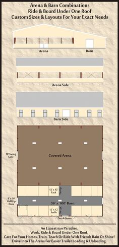 Horse Arena and Barn Combos Stalls