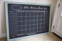 "Extra large handpainted 36x52"" family chalkboard calendar with a 'traditional' style custom frame in teal/gray paint. Shipping list, notes, and post-it sized squares. Family organization in style."