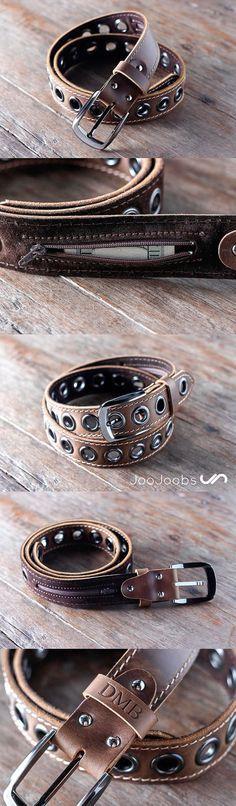 Handmade Mens Leather Belt by JooJoobs This belt has a secret, hidden pocket sewn into the inside lining. The belt is handmade and will last a lifetime. #JooJoobs #handmade #belt