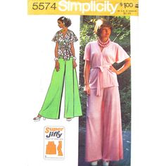 1970s Wrap Top Palazzo Pants Pattern Simplicity 5574 Flutter Sleeve Wide Trousers Bust 38 UNCUT