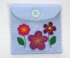 Felt coin purse, floral felt wallet, flower purse, blue felt purse, Handmade in Ireland