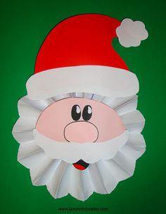 Babbo Natale a fisarmonica da realizzare con fogli di carta bianca e cartoncini di vari colori, ideale da attaccare alla porta di casa o dell'aula di scuol