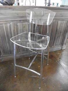 Capitol Bar Stool, Lucite Back and Seat with Clear Polished Chrome Frame Seat: 30