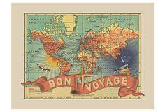 Inspire some adventure!  Bon Voyage Vintage Map  on OneKingsLane.com