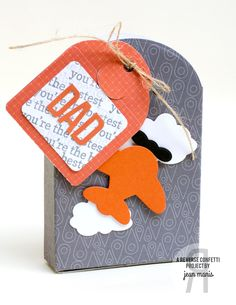 Treat Tote by Jean Manis for JUNE 2015 CREATIVE HOP, Reverse Confetti stamp set: Fancy Word Coordinates. Confetti Cuts: Folded Tag, Tagged Tote, Here We Go, and Sun 'n Clouds. Cars, Planes, and Trains. Masculine gifts. Father Day idea.