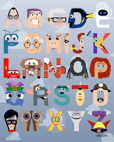 Fun Prints by Mike BaBoon with the letters represented by characters whose names starts with them. Pixar, Harry Potter, Muppets to name a few