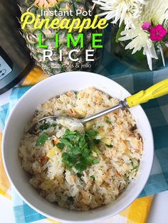 Pineapple Lime Rice is the perfect side dish this summer, and it only takes 8 minutes! The juicy tidbits of pineapple with the tart, citrus flavor of limes.