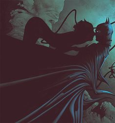 Excellent silhouette on cat woman, and batman looks uncomfortable with the situation and I like that sexually awkward interpretation of batman {•Jae Lee}