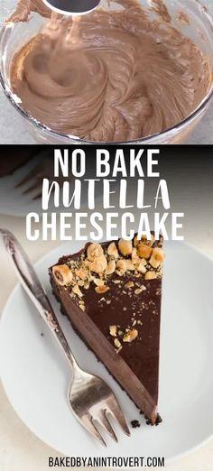 No Bake Nutella Cheesecake, Easy Cheesecake Recipes, Easy No Bake Desserts, Homemade Desserts, Sweet Desserts, Easy Nutella Recipes, Easy No Bake Recipes, Easy Dessert Recipies, Easy Delicious Desserts