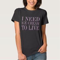 I Need Ice Cream To Live – Crazy for Ice Cream Women's Tee Shirt Black