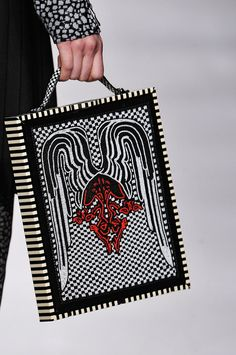 Fendi ipad case in white and black stripes and graphic prints