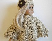 American Girl Doll Clothes: Crocheted Poncho Set with Flowered Hat in Color of your Choice - Made to Order