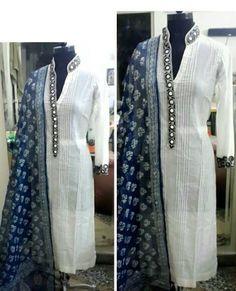 Team up your Indigo dupattas with elegant white kurta. Churidar Designs, Kurta Designs Women, Blouse Designs, Pakistani Dresses, Indian Dresses, Indian Outfits, Kurta Patterns, Dress Patterns, Kurta Neck Design
