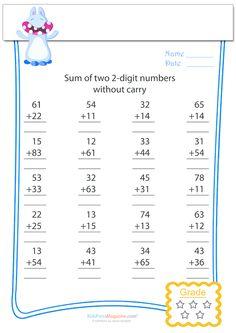 Double digit addition without carry worksheet, courtesy of KidsPressMagazine…