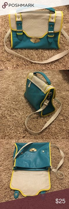 "|56|🔅ColorBlock Satchel • like new • teal and cream with bright yellow trim • navy polka dot interior • height 11"" • width 13"" • depth 5.25"" • removable/adjustable strap 50"" • Bags Satchels"